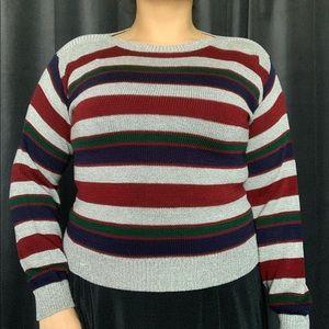 Vtg primary color-block striped pullover sweater